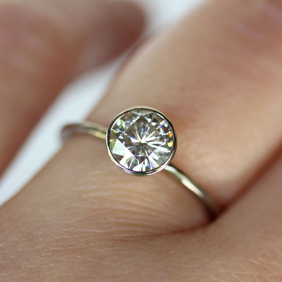 prong carved ring in anueva grey of solitaire jewelry evergreen wedding engagement friendly rings products by earth diamond moissanite recycled gold